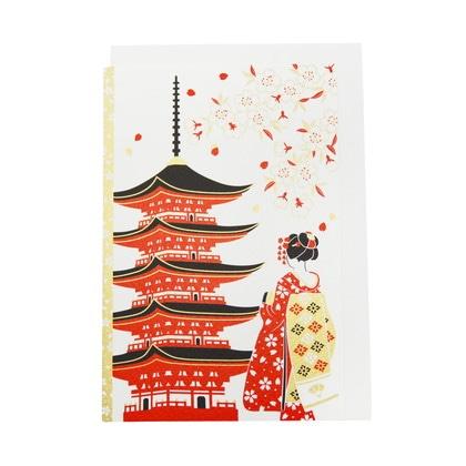 JXCD−109和風シルク印刷カード 五重塔と舞妓さん