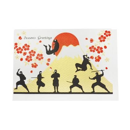 JXCD−120シルク印刷クリスマスカード 忍者と富士山