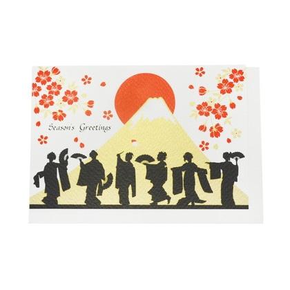 JXCD−121シルク印刷クリスマスカード 舞妓さんと富士山