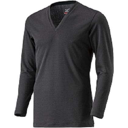 ブレスサーモアンダーウェア    Vネック長袖シャツ [メンズ] ブラック ・ LL