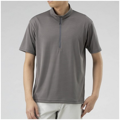 ドライベクタージップ半袖シャツ[メンズ]  チャコール・L