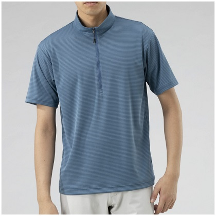 ドライベクタージップ半袖シャツ[メンズ]  ブルーグレー・L