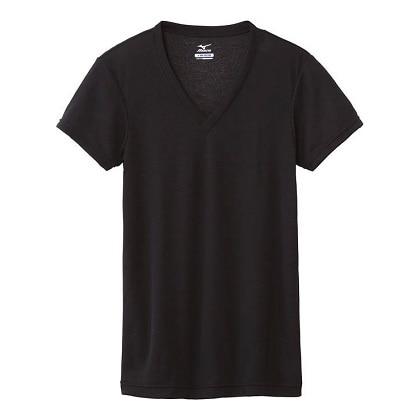 【ドライベクターエブリ】Vネック半袖シャツ[メンズ] ブラック・XL