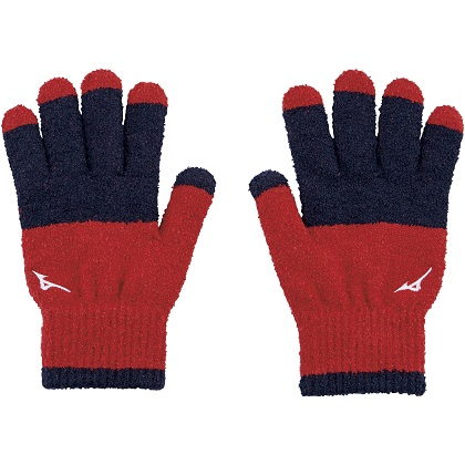 ブレスサーモ手袋 [ユニセックス]レッド×ネイビー