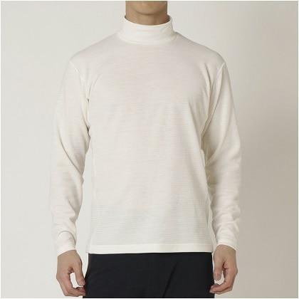 ブレスサーモ ボーダーハイネックシャツ[メンズ] プリスティンホワイト ・ M