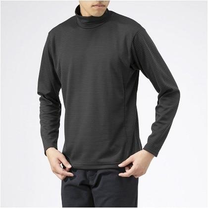 ブレスサーモ ボーダーハイネックシャツ[メンズ] チャコールグレー ・ XL