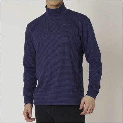 ブレスサーモ ボーダーハイネックシャツ[メンズ] エクリプスネイビー ・ XL