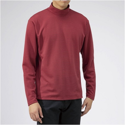 ブレスサーモ ボーダーハイネックシャツ[メンズ] カーディナルレッド(M〜XL)