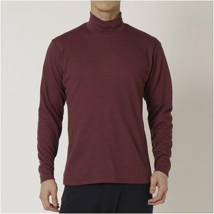 ブレスサーモ ボーダーハイネックシャツ[メンズ] タウニーポートレッド ・ L