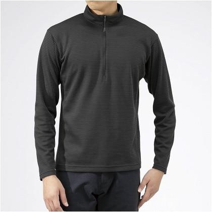 ブレスサーモ ボーダージップネックシャツ[メンズ] チャコールグレー(M〜XL)