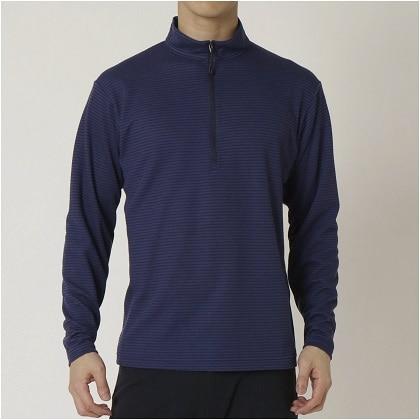 ブレスサーモ ボーダージップネックシャツ[メンズ] エクリプスネイビー ・ XL