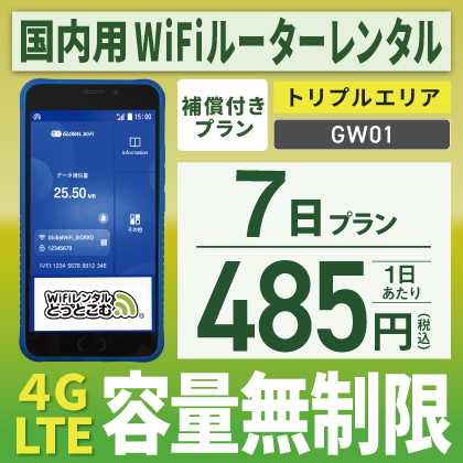 GW01 無制限 トリプルエリア対応 7日間レンタル補償付きプラン