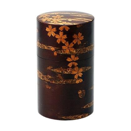 八柳 樺細工 総皮茶筒 なごみ桜