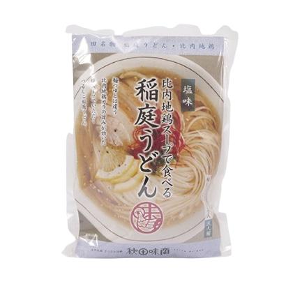 秋田味商 比内地鶏の鶏塩スープで食べる稲庭うどん 塩スープ入 3人前