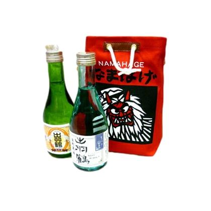 秋田清酒 出羽鶴 なまはげ観光袋セット 「ちょい生」「羽ばたき純米」300ml×2本