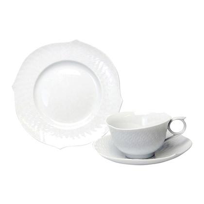 マイセン 波の戯れ ホワイト ティーカップ&ソーサー+プレート
