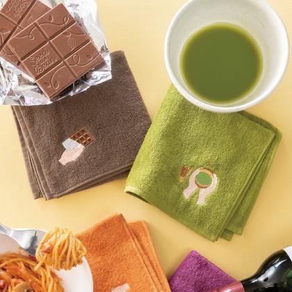 FLYING APARTMENT 食いしん坊のハンカチ2枚セット A チョコレート&抹茶