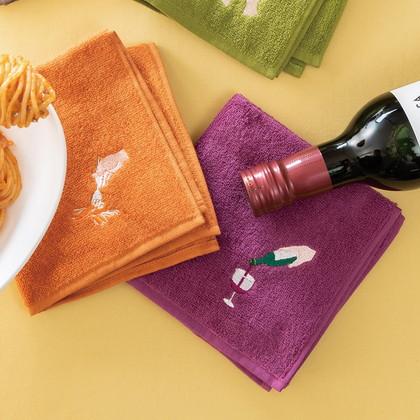 FLYING APARTMENT 食いしん坊のハンカチ2枚セット B ミートソース&ワイン