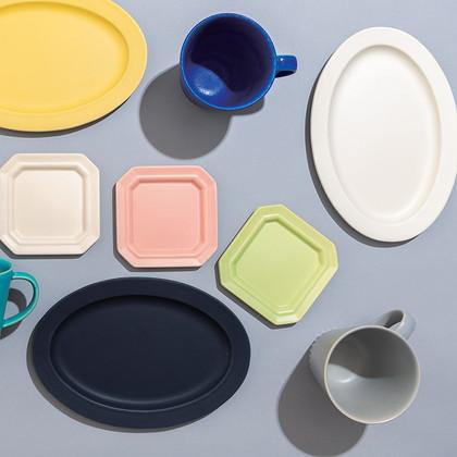 作山窯 ペアオーバル皿 ホワイト&ネイビー