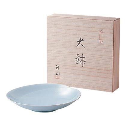 白山陶器 青白磁 大鉢(木箱入)