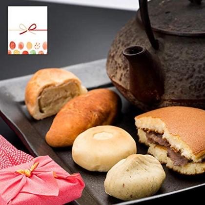 恵那良平堂 栗とお芋の和菓子10個 詰め合わせ 白川煎茶入り 風呂敷包み