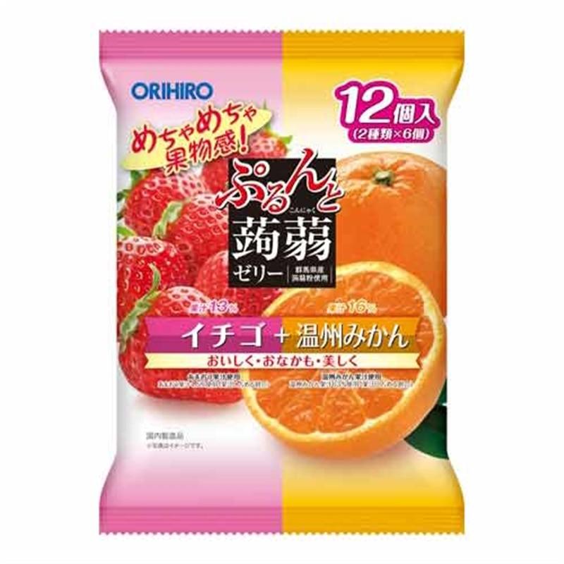 ぷるんと蒟蒻ゼリー パウチ イチゴ+温州みかん 【秋・冬限定】