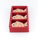 錦金叩紅鯛箸置/3個ギフトセット(化粧箱)