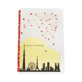 JXCD−088和風シルク印刷カード 東京からの富士山