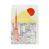 JXCD−117シルク印刷クリスマスカード 東京タワー富士山と初日の出