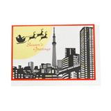 JXCD−118シルク印刷クリスマスカード 東京月とサンタ